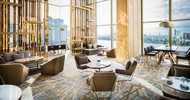 The lobby at the Avani Riverside Bangkok Hotel.
