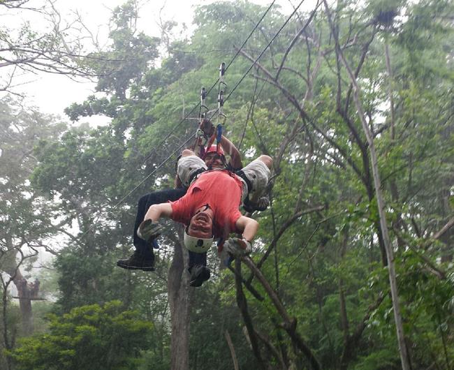 John ziplining in Costa Rica.