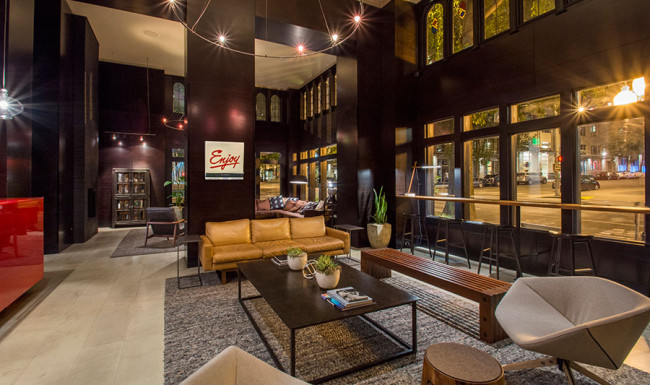 Lobby of Hotel Max in Seattle.