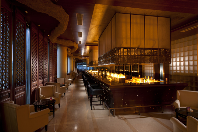 The stylish Long Bar at the Hilton Beijing Capital Airport hotel.