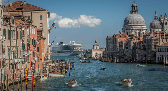 """Travel agents can enter to winViking Cruises'""""Your Ship Has Come In: Viking Million Dollar Voyage"""" booking contestnowthrough March 31, 2017. (Pictured: The Viking Star in Venice, Italy.)"""