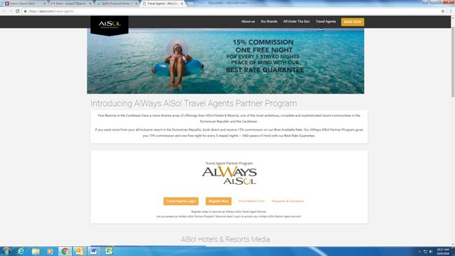 Agents who register online forAlSol Hotels & Resorts' new travel agent program receiveone complimentary night for joining.