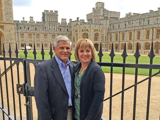 John and his wife, Mary, at Windsor Castle. (Photo courtesy of Mayflower Tours.)