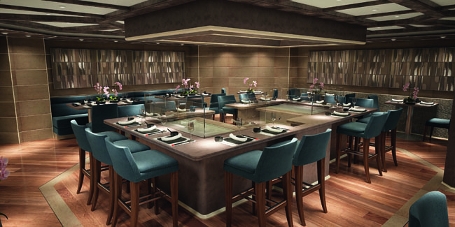 Kabuki, a contemporary Asian restaurant inspired by the ancient art of Kabuki theater, is one of eight dining venues on the new Silver Muse.