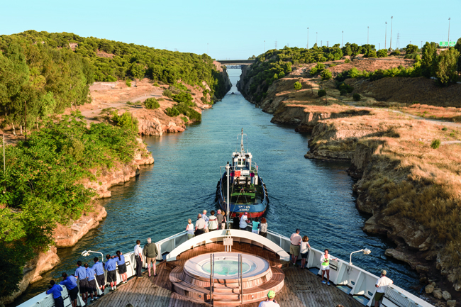 Windstar Cruises sailing through the Corinth Canal on a Quintessential Croatia sailing.