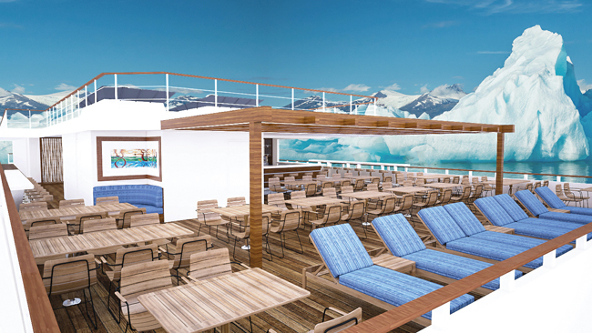 A rendering of the sun deck on theLindblad Expeditions's first-ever new build ship, National Geographic Quest.