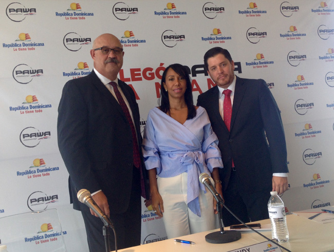 Daniel Castillo, USA Country Manager for Pawa Dominicana, Wendy Justo, director of the Dominican Republic Office of Tourism in Miami and Alexander Barrios, corporate affairs director for Pawa Domonicana at a press event in Miami to announce the launch of a new Santo Domingo-Miami service.