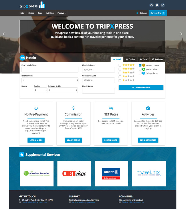 A screenshot of American Marketing Group's revamped tripXpress hotel booking platform.