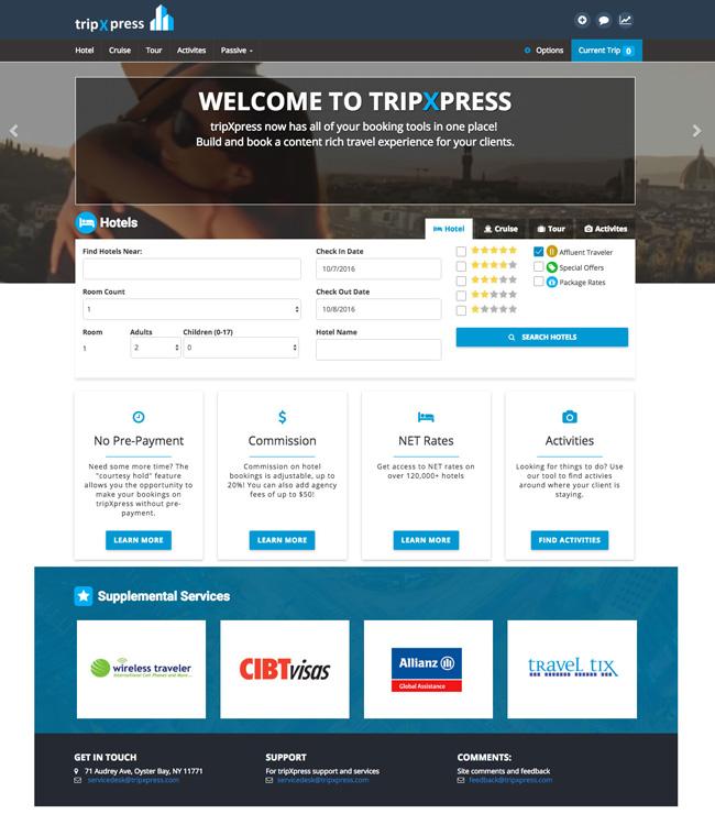 A screenshot ofAmerican Marketing Group's revampedtripXpress hotel booking platform.