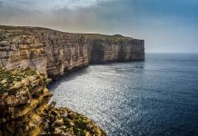 Aerial view of Gozo Cliffs. (Viewing Malta)
