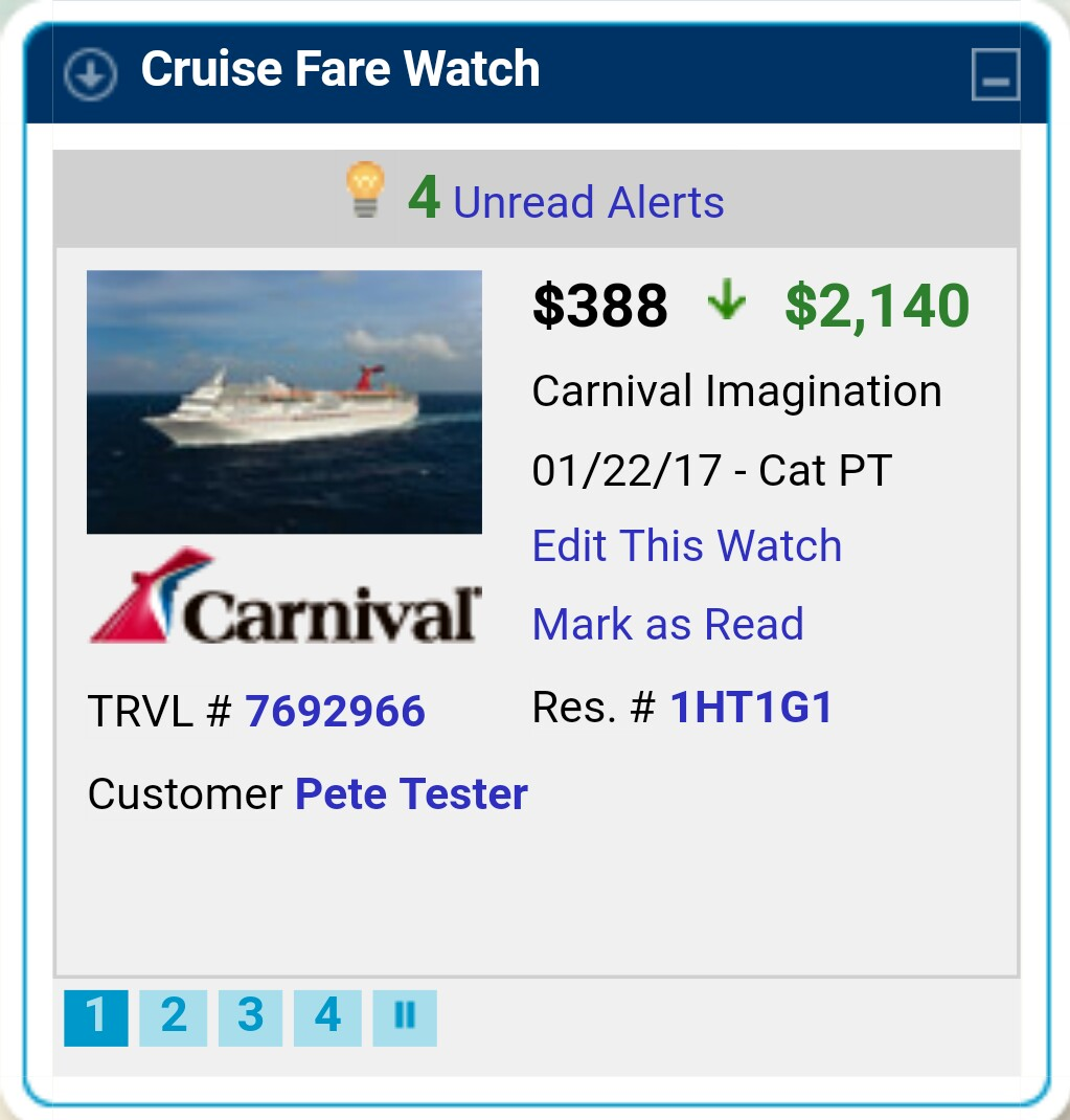 A screenshot of Dream Vacations, CruiseOne and Cruises Inc.'s new Cruise Fare Watch technology.