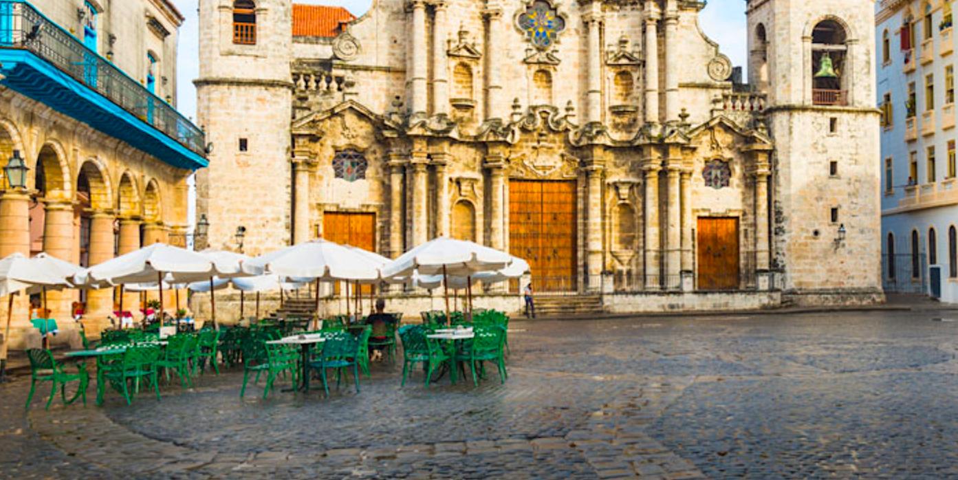 Cuba church plaza. (Photo courtesy of Apple Vacations.)