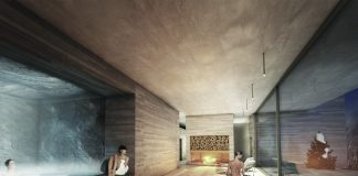 A rendering of the Alpine Spa at the Burgenstock Resort Lake Lucerne in Switzerland.