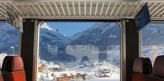 Eurail train arriving in Zermatt, Switzerland.