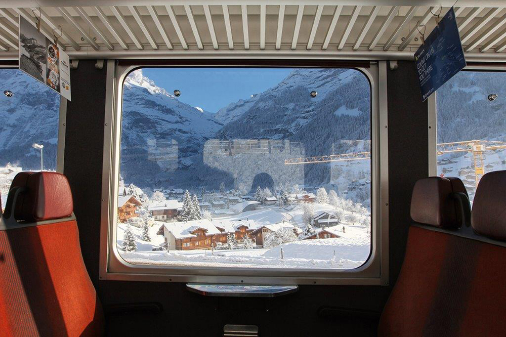 Eurail train arriving in Zermatt, Switzerland.
