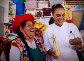 JW Marriott El Convento Cusco's chef Thais Rodriguez takes guests on a tour through the local San Pedro Market.