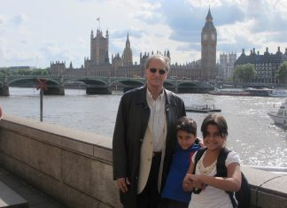 John in London with his grandchildren.