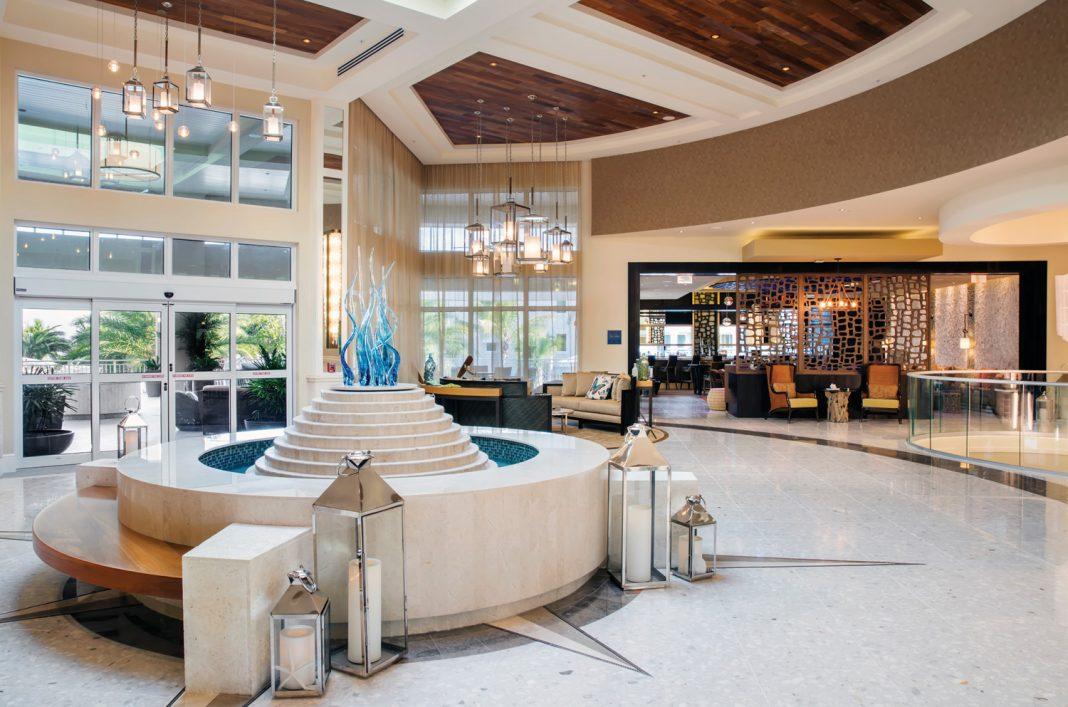 The chic lobby at Playa Largo Resort & Spa.
