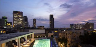 The rooftop terrace at The Poli House in Tel Aviv, Israel.