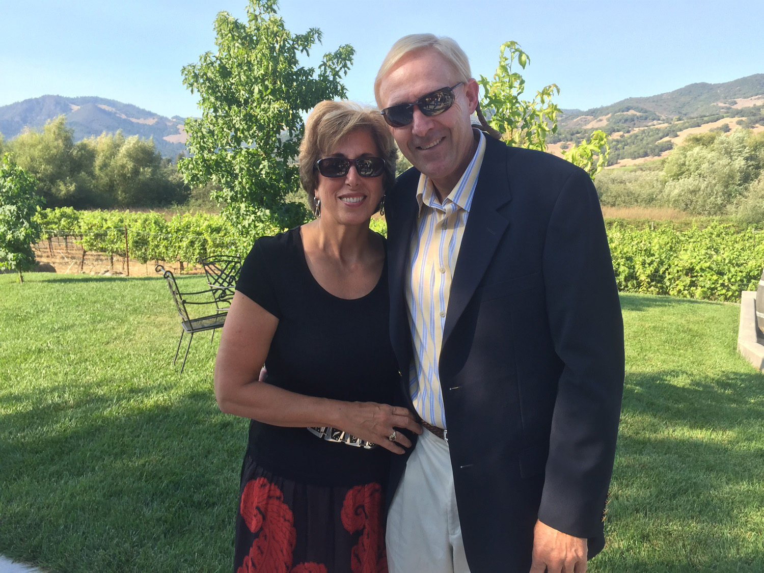 Paula in Sonoma with her husband Gary.