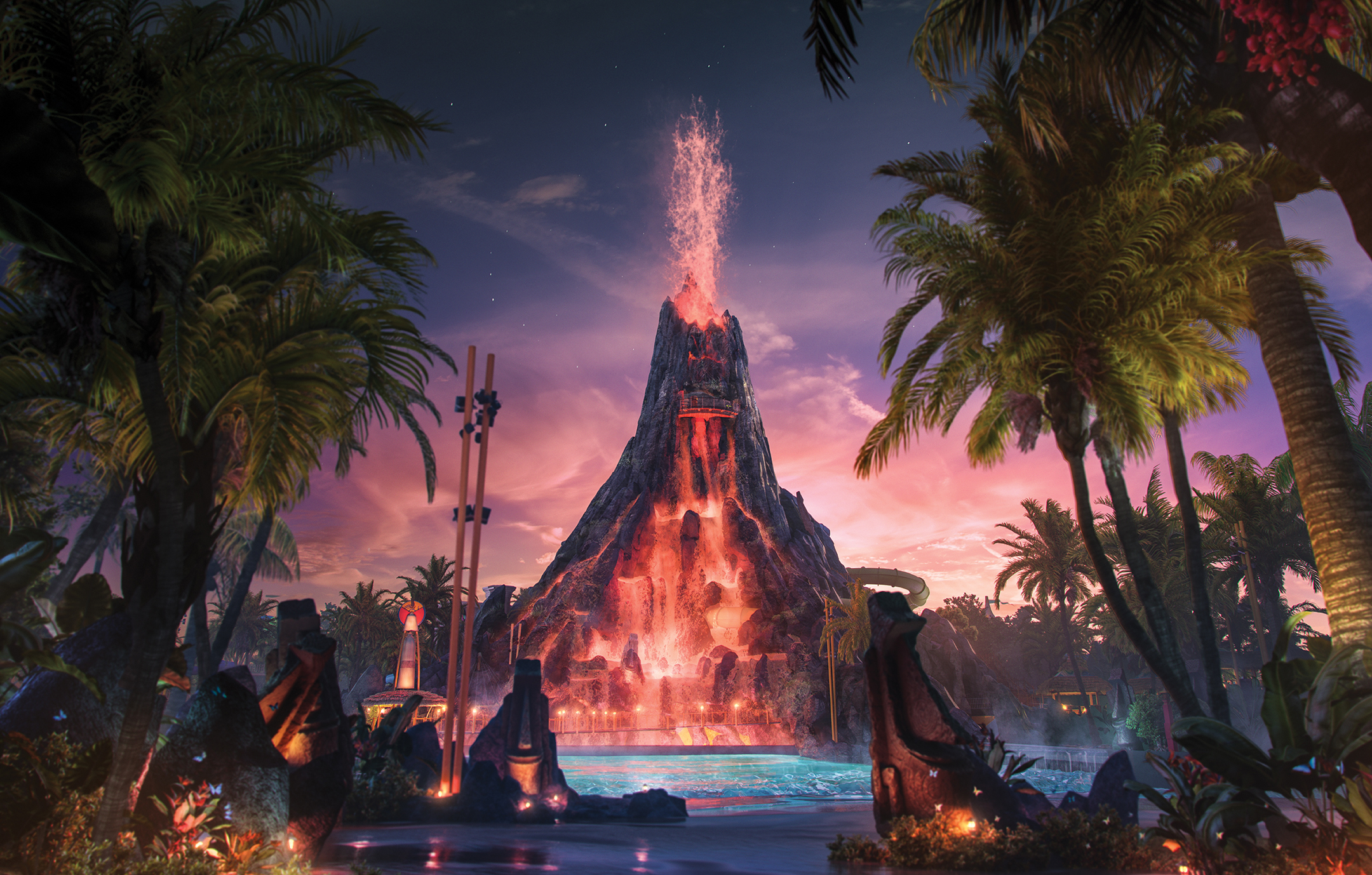 Evening views of Universal's new Volcano Bay, a new waterpark opening summer 2017.