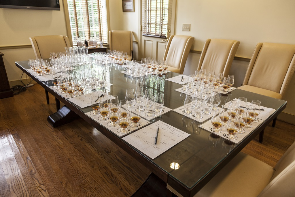 The tasting table at the Woodford Reserve Distillery in Lexington, Kentucky. (Photo credit: KY Bourbon Trail)