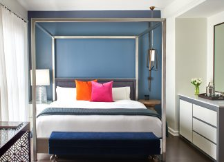 Guestroom at the Hotel Colonnade Coral Gables. (Photo courtesy of Hotel Colonnade.)