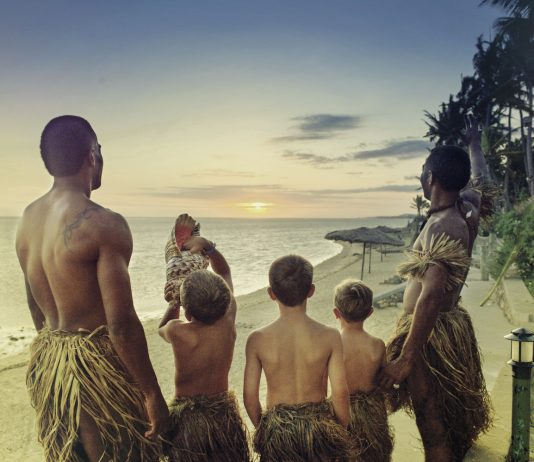 Sunset ceremony at the Outrigger Figi Beach Resort.