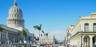 Vintage wheels and the National Capitol Building: Welcome to Havana.