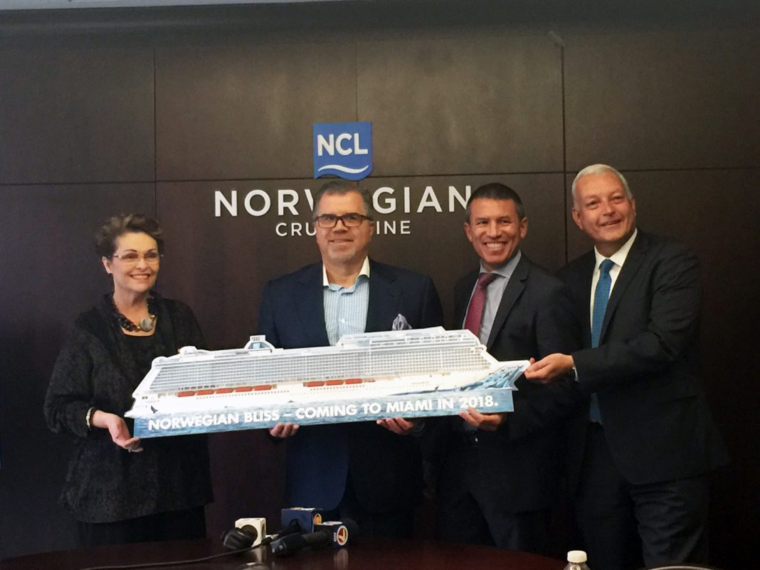 Norwegian Cruise Lines announces the new build Norwegian Bliss will homeport in Miami.