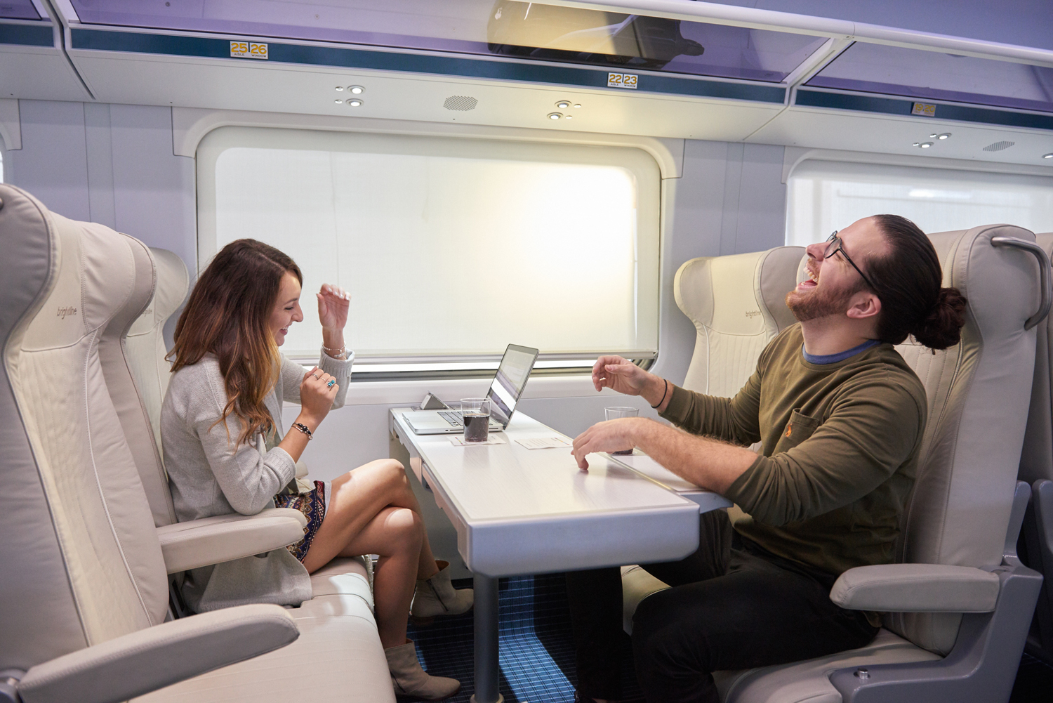 Comfy seating on board Brightline's BrightBlue, set to launch mid-2017.