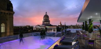 A rendering of the rooftop terrace at The Gran Hotel Kempinski Manzana La Habana in Havana, Cuba.