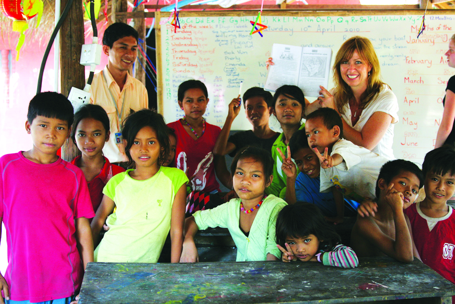 Kristin at the Opportunities and Development thru Art (ODA) Free Village English School in Siem Reap, Cambodia.