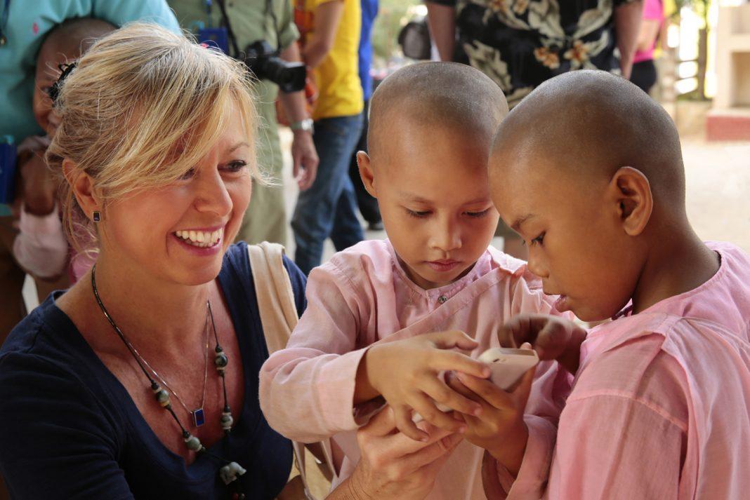 Kirstin with children in Myanmar.