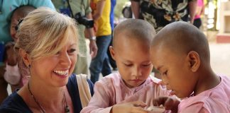 Kirstin with children in Myanmar.