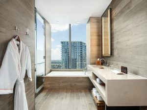 Biscayne Bay views can be enjoyed from the soak in tub.
