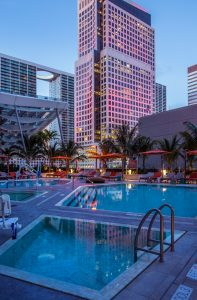 Poolside at EAST, Miami.