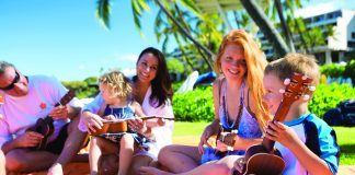 Ukulele lessons at Mauna Kea Beach Hotel on the Big Island, Hawaii.