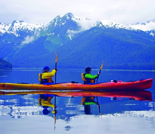 Couple kayaking in Admiralty Island. (State of Alaska/Reinhard Pantke)