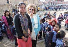 Peggy at Kathmandu Bamboo School.