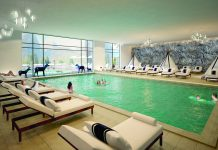 Opposite page: Rendering of the pool at the Club Med Samoens, which will open this December in the French Alps.