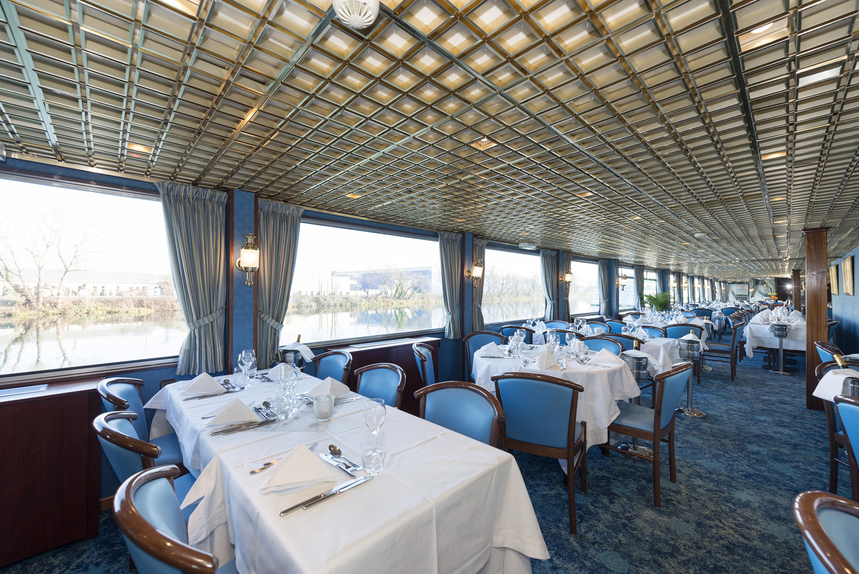 Restaurant inside CroisiEurope'sM/S Victor Hugo.