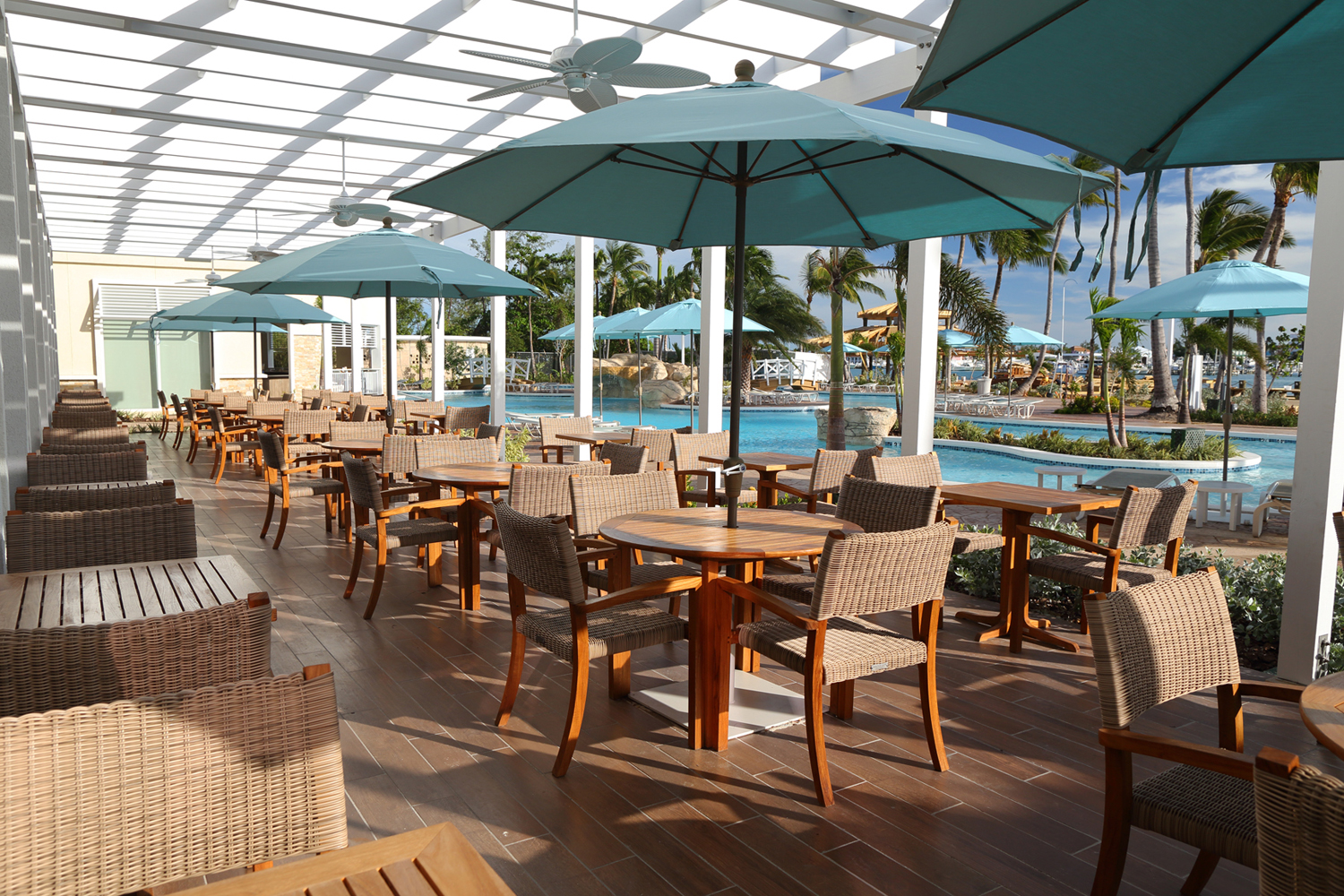 The Verandah Terrace at Warwick Paradise Island Bahamas.