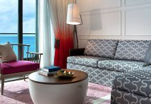 A guestroom at the Kimpton Seafire Resort + Spa in Grand Cayman.