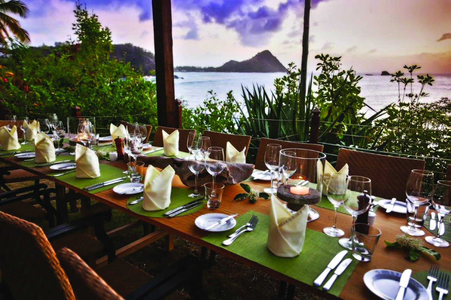 Dining with stunning views at Cap Maison in Saint Lucia.