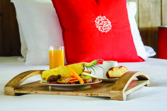 Breakfast in bed at Hotel French Coco in Martinique.