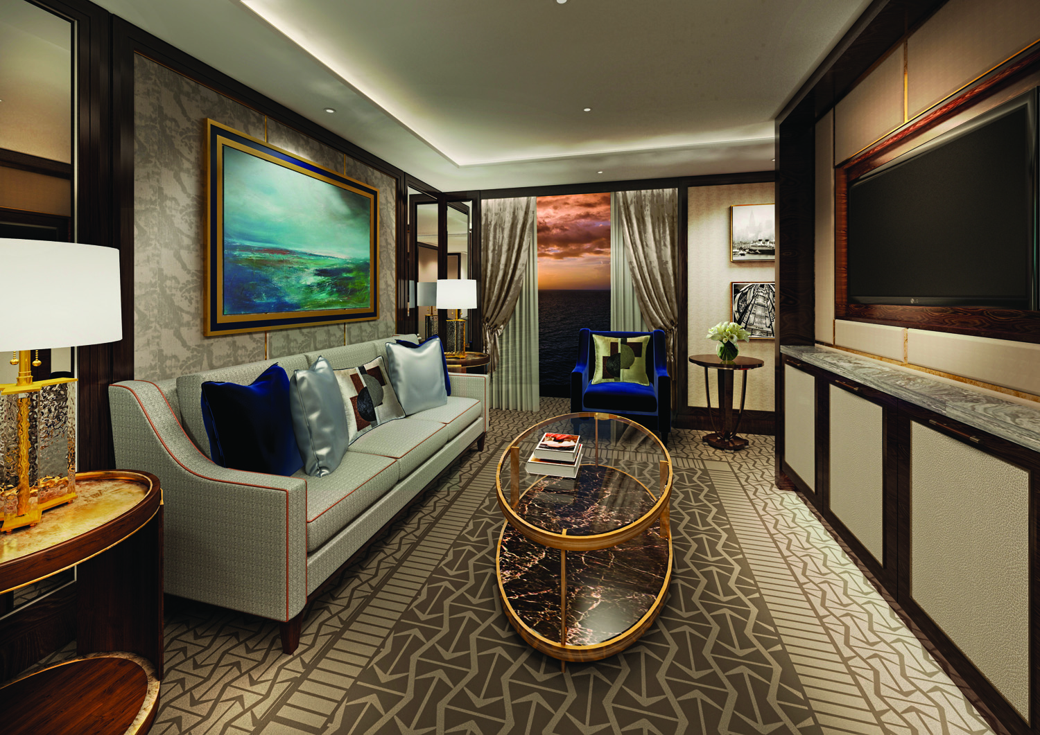 Rendering of Penthouse Suite on board the Queen Victoria.