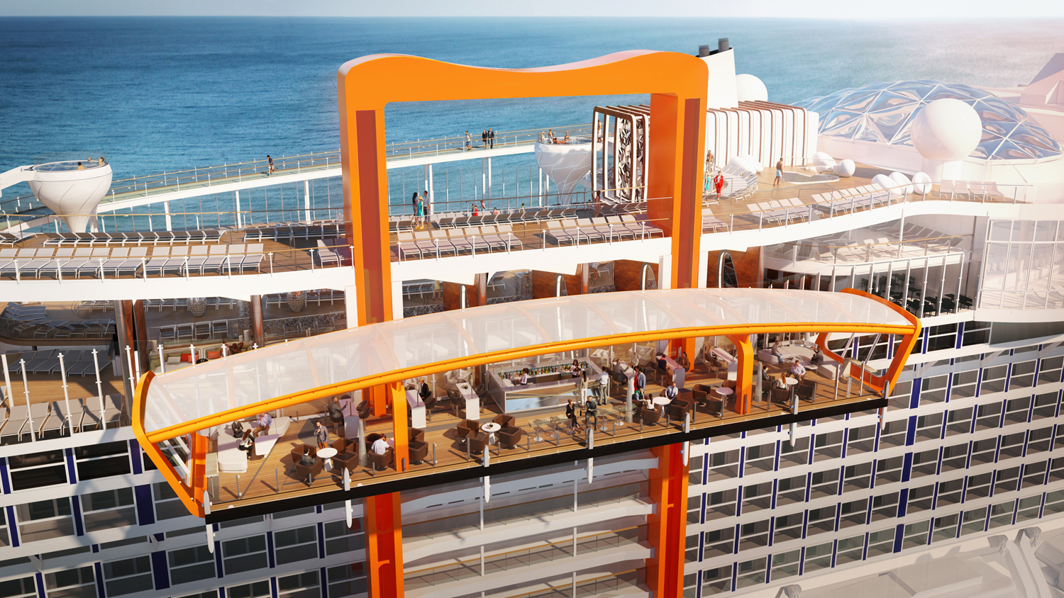 The Magic Carpet on the Celebrity Edge willmoves up and down the ship's 16 decks to deliverdifferent experiences at each one.