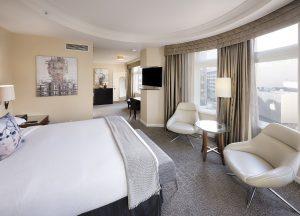 Corner King guestroom atHotel Zelos San Francisco.