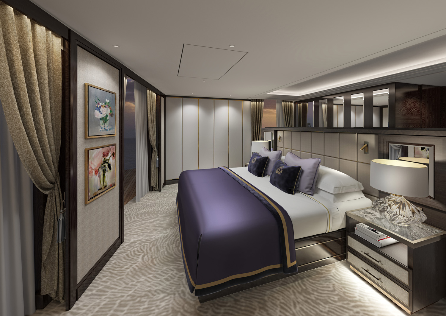 A rendering of a redesigned Cunard Grand Suite.